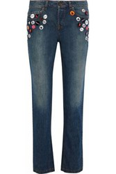 Red Valentino Button Embellished Mid Rise Straight Leg Jeans Blue