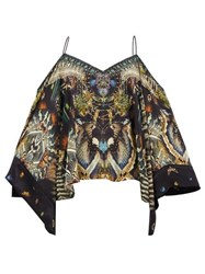 Camilla Maternal Instinct Off The Shoulder Silk Blouse Black Print