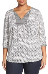 Plus Size Women's Nydj 'Patchwork Mosaic' Peasant Blouse Wildflower Wishes