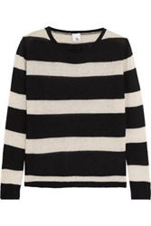 Iris And Ink Striped Cashmere Sweater Black