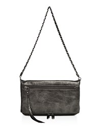 Joe's Jeans Riley Metallic Leather Clutch Pewter Gunmetal