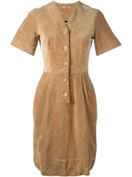 Peter Jensen Fitted Corduroy Dress Nude And Neutrals