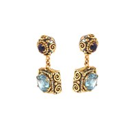 Van Andel And Peace Fine Jewellery Dawn Earrings Gold And Silver Aquamarines Blue Gold Silver