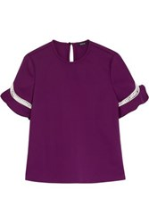 Raoul Open Knit Trimmed Cotton Blend Top Purple