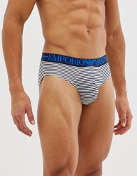 Emporio Armani Stripe Briefs In Blue