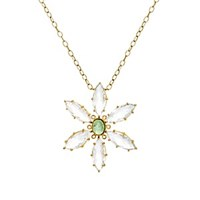 Cathy Waterman Mixed Gemstone Flower Pendant Necklace