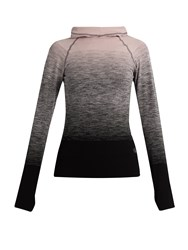 Pepper And Mayne Hooded Compression Ombre Performance Top Black Pink