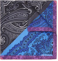 Etro Paisley Print Silk Twill Pocket Square Blue