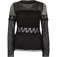 River Island Womens Black Mesh Lace Insert Long Sleeve Top