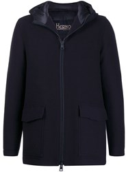 Herno Hooded Down Jacket Blue