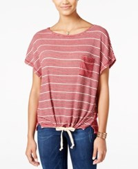 One Hart Juniors' Striped Drawstring Waist T Shirt Only At Macy's Red Combo