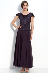 Women's J Kara Beaded Mock Two Piece Chiffon Dress