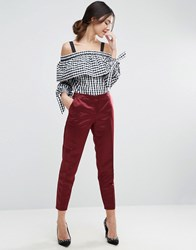 Asos Glam Satin Slim Leg Trousers Berry Red