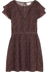 Band Of Outsiders Floral Print Cotton Mini Dress Red