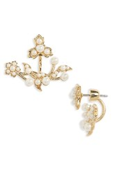 Marchesa Women's Pure Petals Imitation Pearl Ear Jackets White Gold