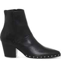 Office Levi Western Leather Ankle Boots Black Leather