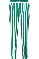 Dolce And Gabbana Striped Silk Satin Straight Leg Pants Emerald White