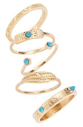 Danielle Nicole Women's Stackable Rings Set Of 5 Antique Gold Turquoise