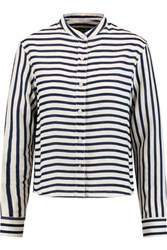 Rag And Bone Leeds Striped Linen Blouse Navy
