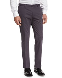 Boss Slim Straight Flat Front Trousers Mid Gray