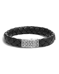 John Hardy Classic Chain Woven Leather And Silver Medium Bracelet Black Silver