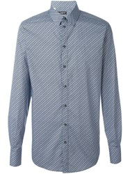 Dolce And Gabbana Diamond Print Shirt Blue