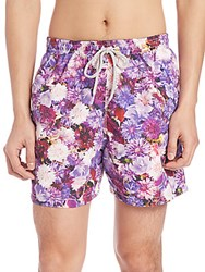 Saks Fifth Avenue Chrysanthemum Swim Trunks Purple