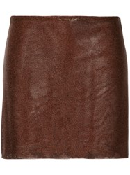 Kacey Devlin Contour Mini Skirt Brown