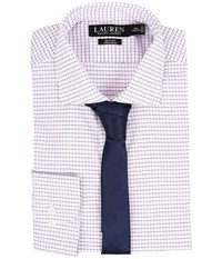 Lauren Ralph Lauren Slim Estate Collar White Pink Bond Men's Long Sleeve Button Up