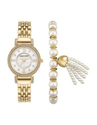 Anne Klein Crystal Studded Mother Of Pearl Watch And Faux Pearl Tassel Bracelet Set Gold