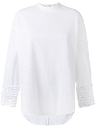 Cedric Charlier Ruffled Lace Blouse White