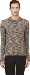 Kolor Brown Wool And Leather Sweater