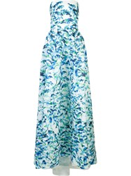 Monique Lhuillier Printed Ball Gown Blue