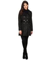 Jessica Simpson Sueded Rain Trench With Double Breasted Buttons Black Women's Coat