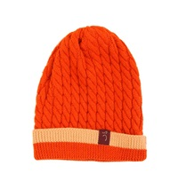 Plum Of London Cable Knit Beanie Hat Orange Yellow Orange