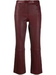 Theory Leather Cropped Trousers Red