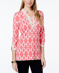 Charter Club Printed Split Neck Tunic Only At Macy's Crushed Peony