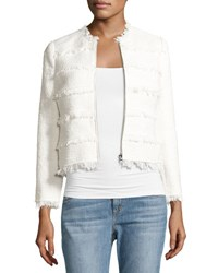 Rebecca Taylor Textured Tweed Jacket With Fringe White