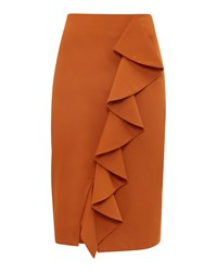 Ted Baker Selver Ruffle Detail Cotton Blend Pencil Skirt Light Brown