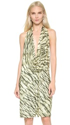 Haute Hippie Cowl Neck Halter Dress Stripe Cheetah Tie Dye