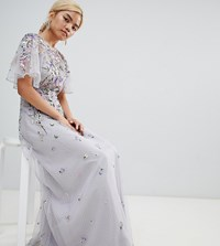 Asos Design Petite Bridesmaid Floral Embroidered Dobby Mesh Flutter Sleeve Maxi Dress Grey