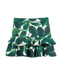 Milly Minis Banana Leaf Ruffle Tiered Mini Skirt Size 8 14 Green