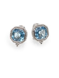 Judith Ripka Estate Blue Topaz And Sterling Silver Square Earrings