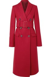 Helmut Lang Double Breasted Wool Blend Coat Red