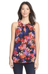 Cece By Cynthia Steffe 'Radiant Garden' Print Sleeveless Pleat Neck Blouse Sienna