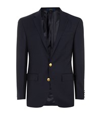 Polo Ralph Lauren Gold Button Wool Blazer Male Navy