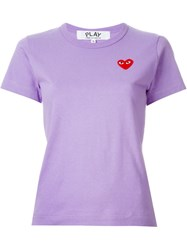 Comme Des Gara Ons Play Embroidered Heart T Shirt Pink And Purple