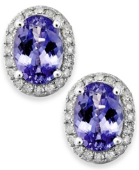 Macy's Tanzanite 1 1 2 Ct. T.W. And Diamond 1 5 Ct. T.W. Oval Stud Earrings In 14K White Gold