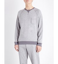 Orlebar Brown Bryan Cotton Jersey Sweatshirt Grey Melange Fossil