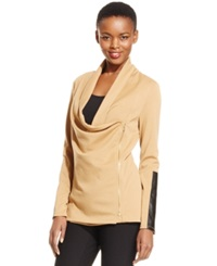 Grace Elements Faux Leather Trim Asymmetrical Ponte Jacket